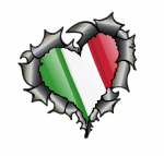 Ripped Torn Metal Heart Carbon Fibre with Italy Italian Flag Motif External Car Sticker 105x100mm